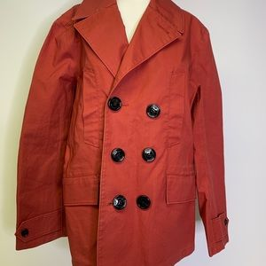 Burberry Red Button Down Peacoat Jacket Size 48